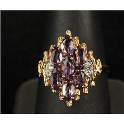 Unique 10K YG Amethyst & Diamond Ring
