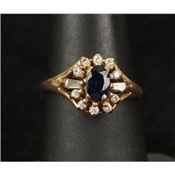 Sweet 14K YG Blue Sapphire & Diamond Ring