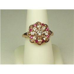 Colorful 10K Rose Gold Ladies Ring