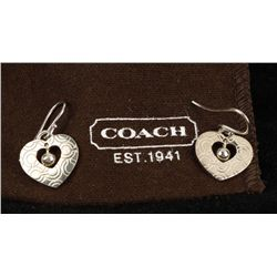 Sterling Silver Official Coach Signature Earrings