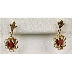 Hand-Crafted 14K YG Garnet Earrings