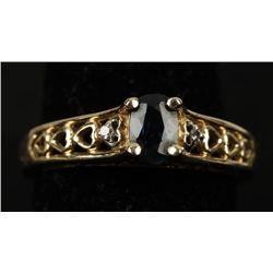 Demure 10K YG Sapphire & Diamond Ring