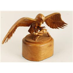 Wood Carved Eagle with Prey Signed Rochelth