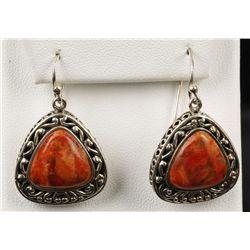 Vintage Sterling Silver Red Jasper Earrings