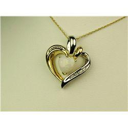 Graceful 10K 2-Tone Gold Ladies Heart Pendant