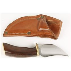 Custom Clip Point Knife with Leather Sheath