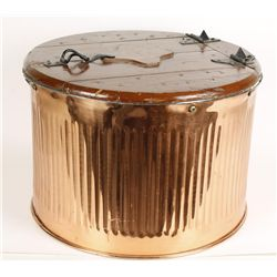 Antique Copper Wash Basin with Hinged Wood Top