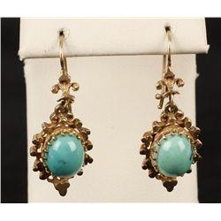 Vintage 14K YG Turquoise Earrings