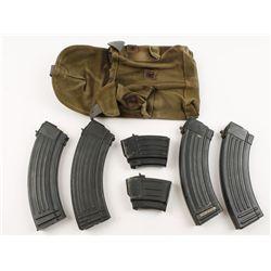 Lot of 6 AK-47 Mags Plus Canvas Belt Pouch
