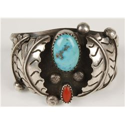 Heavy Old Pawn Turquoise & Coral Cuff
