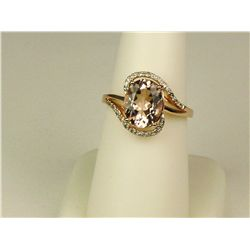 Stylish 10K Rose Gold Ladies By-Pass Ring