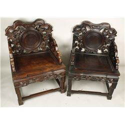 2 Chinese Traditional Design Hand Carved Chairs