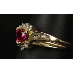 Darling 10K YG Ruby & Diamond Ring