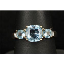 Bright 14K YG Sky Blue Topaz & Diamond Ring