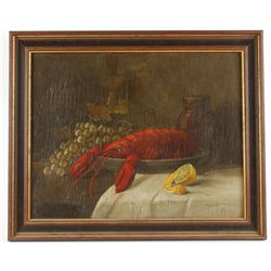 Framed Acrylic on Board of a Lobster and Fruit