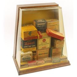 Display Case Filled with Vintage Ammo