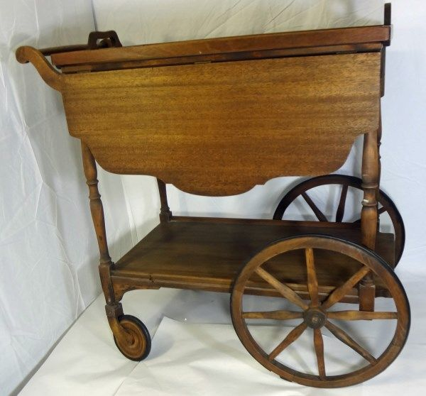 Antique Vintage Wood Tea Cart Drop Leaf Server With Glass Tray