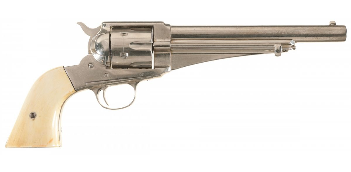 Remington Model 1875 Single Action Army Revolver with Carved Ivory Grips