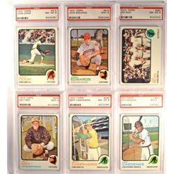 6 - 1973 TOPPS BASEBALL  PSA  3- MINT 9's & 3-  NM-MT 8's.
