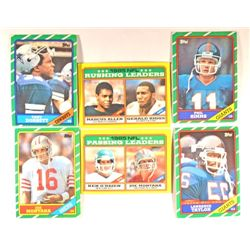 6  -  1986 Topps Football Card Stars.  Montana Passing Leader,