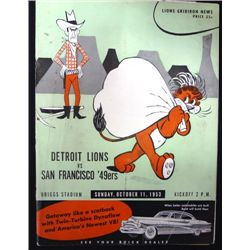1953 Lions vs 49ers Program