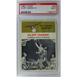 1961 Fleer Basketball #53 Cliff Hagan in action PSA NM7
