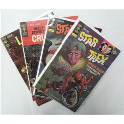 4-Vintage Gold Key Comics, Star Trek, Lassie, Lt Robin Crusoe