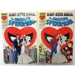 2- Pristine 1987 #21 Spider-Man Wedding Issue comic Books