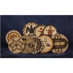 Collection of 9 Hopi Basketry Trays