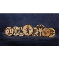 Collection of 8 Hopi Basketry Trays