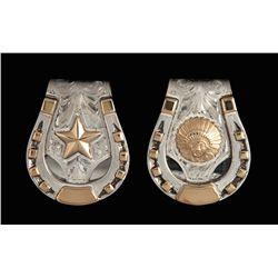 Pair of Bohlin Silver & 14K Gold $ Clips