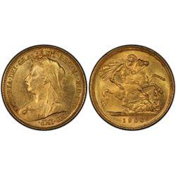 1900 S Half Sovereign PCGS AU58