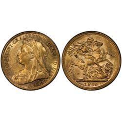 1899 M Sovereign PCGS AU 58