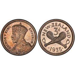New Zealand threepence 1935 PR 65