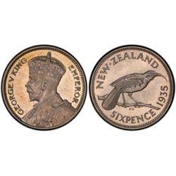 New Zealand Sixpence 1935 PR 65