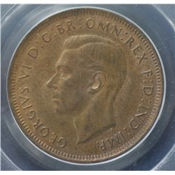 1938 Halfpenny PCGS MS64 Red & Brown
