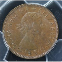 1954 Halfpenny PCGS MS 64 Brown