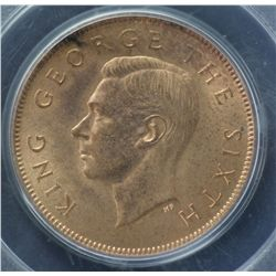 New Zealand Halfpenny 1951 PCGS MS64 Red