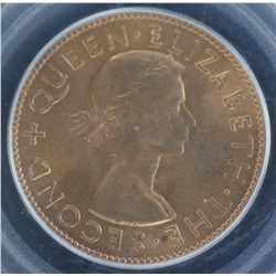 New Zealand 1953 Penny MS65 Red & Brown