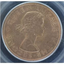 New Zealand 1962 Penny MS 64 Red