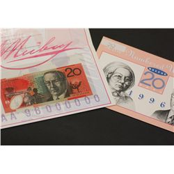 $20 Note low numbered 1996 issue in folder