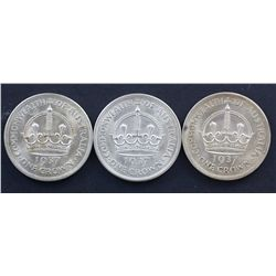 1937 Crowns, Three coins