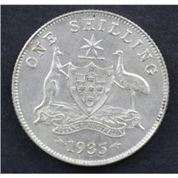 1935 Shilling Uncirculated, 1936 3D Nearly Uncirculated