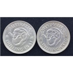 1938, 1939, 1940, 1941 Shillings Extremely Fine