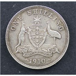 1910 Shilling Nearly Uncirculated