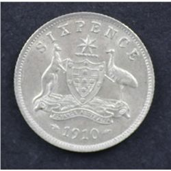 1910 Sixpence nearly Uncirculated