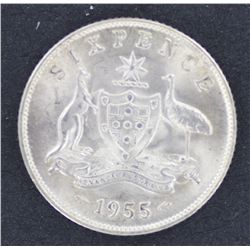 1955 Sixpence Choice Uncirculated