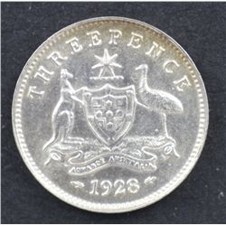 1928 Threepence Nearly Uncirculated