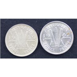 Threepences 1939 & 1947 Choice Uncirculated