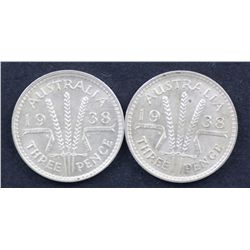 1938 Threepences , one aUnc the 2nd Uncirculated